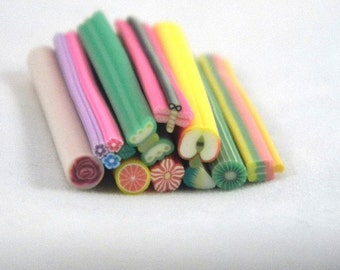 10 Fimo Canes Assorted Styles and Colors for Nail Art, Decoden, Scrapbooking