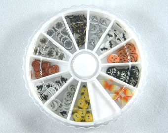 Halloween Fimo Cane Slices Nail Art Wheel, Polymer Clay Slices