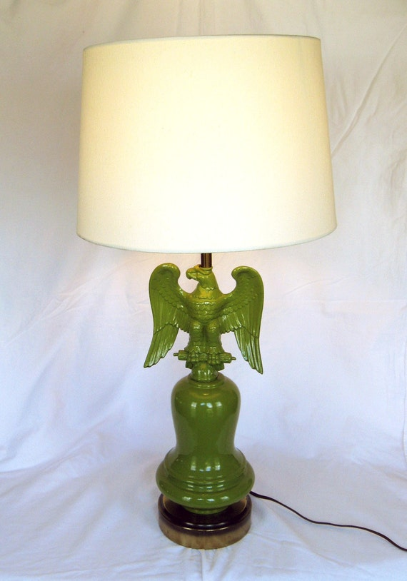 UPCYCLED EAGLE LAMP - Vintage American Colonial in green (c. 1950s)