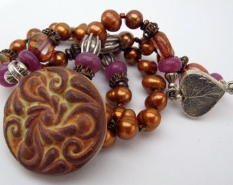 Crimson Sky Necklace - Whynot Pottery pendant - sapphire - burnt orange pearls