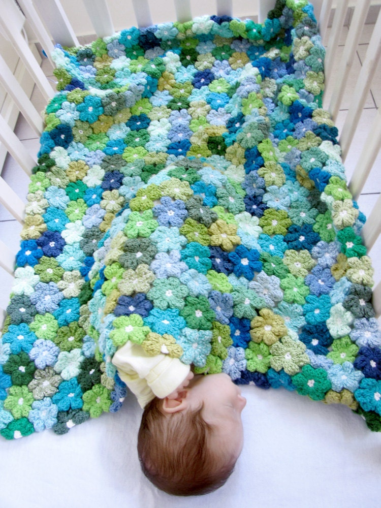 Crochet Patterns Etsy : Newborn PDF Crochet Pattern Floral Baby Blanket Pattern Etsy