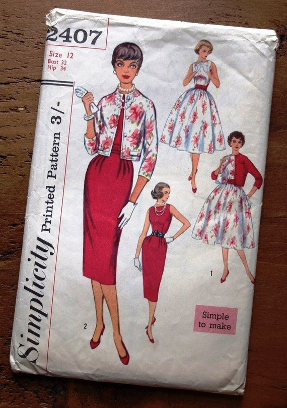 1950's Misses dress with two skirts / kimono jacket. Vintage sewing pattern. Wiggle dress / Full skirt dress. Bust 32. Simplicity 2407