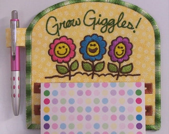 Grow Giggles Flowers Magnetic Applique Embroidered Notepad Holder