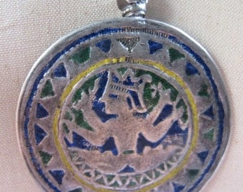 Antique Indian Enamel Silver Tribal Shiva Amulet on Silver Chain and Leather with Antique Indian Beads