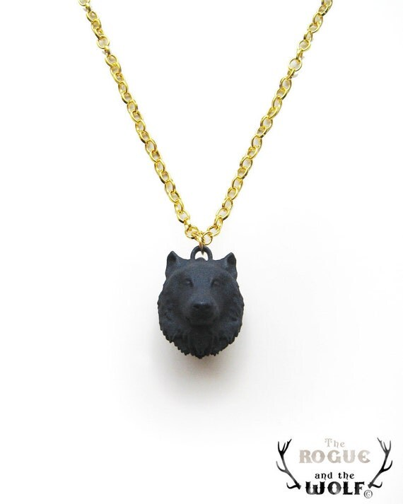 Black Wolf Necklace Pendant, animal jewelry, animal head pendant, wolf necklace, wolf head, goth pendant, wild wolf