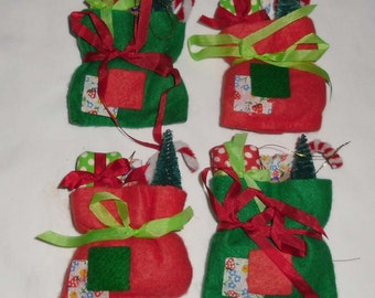 Vintage Christmas Ornaments - 6 Decorations Made in Taiwan - 4 Felt Bags and 2 Stockings - Bottlebrush Trees, Chenille Candy Canes, Presents