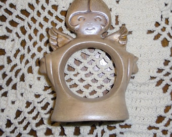 Vintage Napkin Rings - Ceramic Napkin Rings - Four Angel Napkin Rings - Gold Napkin Rings - Christmas Napkin Rings