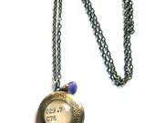 February Birthstone Amethyst Dewey Decimal Locket Aged Brass Purple Gemstone Extra Long Chain