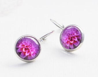 Pink Dahlia Flower Earrings / Pink Dahlia Flower Jewelry / Silver and Glass Lever Clasp Earrings