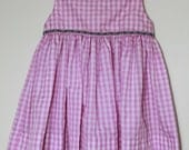 Girls Pink and White Gingham Dress