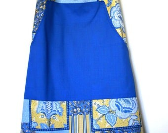 Sweet Blue and Yellow Faux Patchwork Apron and Pot Holder Set