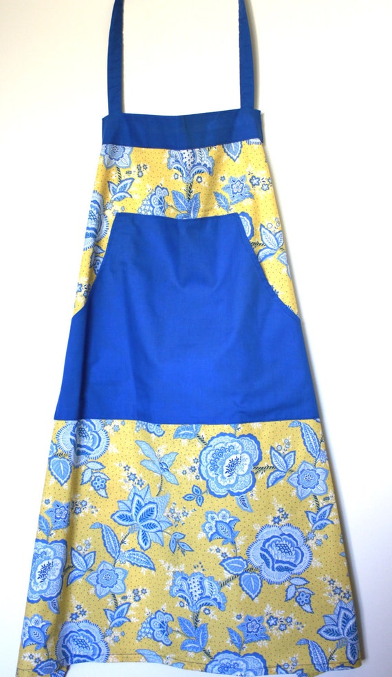 Yellow and Blue Floral Apron and Pot Holder Set