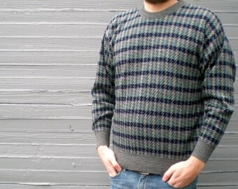 vintage 90s sweater with green & navy stripe. 1990's men's jumper. retro clothing. size large.