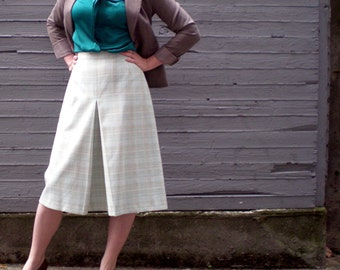 vintage 1970s plaid skirt in powder blue. A-line midi skirt with front pleat. retro clothing.