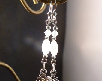 Snowflake Earrings - sterling silver and quartz drops, sparkling, festive