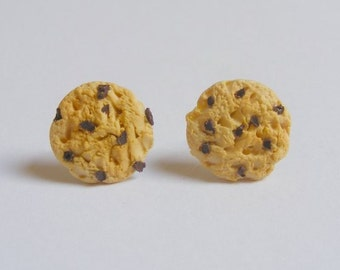 Food Jewelry, Cookie Earrings, Choc Chip Cookie Earrings, Miniature Food Earrings, Mini Food, Kawaii Earrings, Gift for Baker, Dollhouse