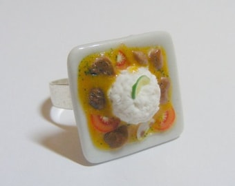 Food Jewelry Beef Curry Miniature Food Ring - Miniature Food Jewellery,Mini Food Ring,Handmade Jewelry,Kawaii Ring,Curry Lover Ring