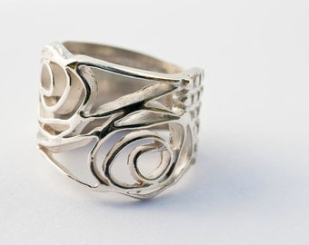 Sterling Silver rose ring -  Art Nouveau ring -  Gift for Her