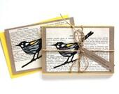 Yellow Honeyeater Hand-painted Lino Print Bird Greeting Card, Pack of 5