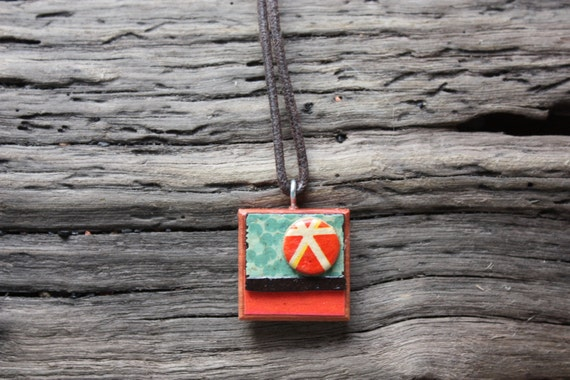 Art Collage Pendant - OOAK - Made in Australia - Red and Turquoise