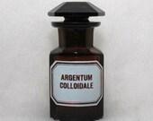 Vintage Dark Amber Apothecary Bottle:  Argentum Colloidale