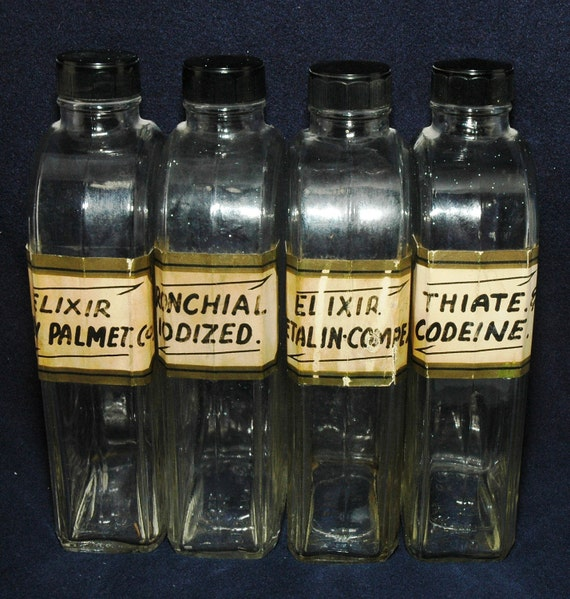 Set of 4 Vintage Glass Apothecary Bottles: