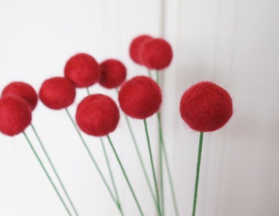 10 Red Wool Felt Billy Ball Flowers Needle felted Pom Pom Blooms - Love Gift For Her Romantic Valentine Wedding Bouquet Decorating