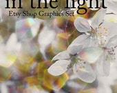 SALE White & Gold Apple Tree Blossoms OOAK Etsy Shop Banner and Avatar 11 Piece Customizable Set / Glitter Bokeh White Gold Blooms Flowers