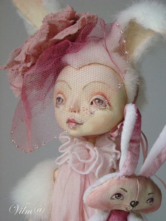 OOAK Art Doll My Sweet Bunny- Free shipping