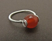 Carnelian Wire Wrapped Ring, Sterling Silver Filled Wire