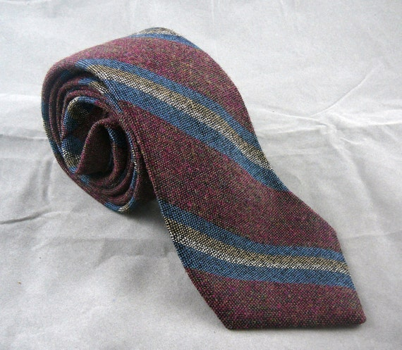 Neil Martin 100% wool vintage tie striped in dark red, blue and yellow - great condition menswear / neckwear