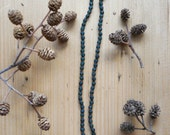 Forest Green Frosted Glass Bead Necklace - Stone Pendant - Fall Inspiration