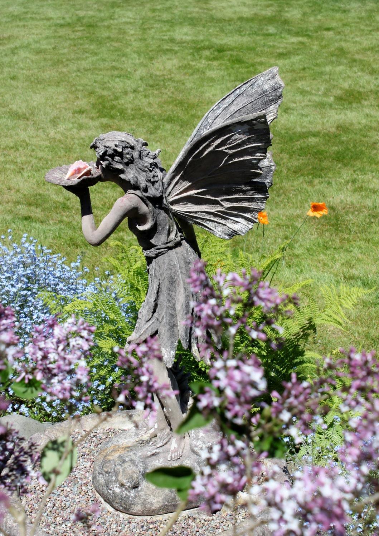 Garden Statue Fairy: Fairy Stone Garden Statue Photograph With Photo Mat