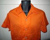Vintage 60s Catalina shirt jac shirt / 1960s loop top collar / Gaucho Cabana / button up shell buttons / mad men ... S M