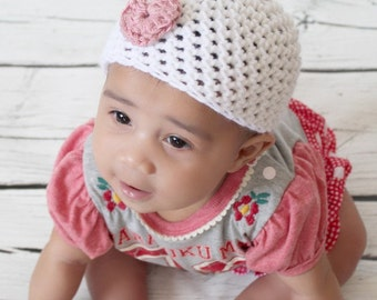 Baby girl crochet hat white with pink heart, beanie, baby fashion, photo prop, Valentine's Day