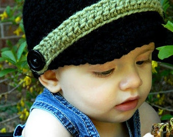 Baby boy crochet hat with buttons and band newsboy