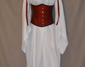 Custom made ladies full length medieval angle sleeve chemise with trim