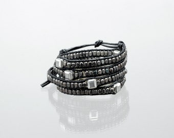 Gunmetal and square silver bead wrap bracelet on black leather
