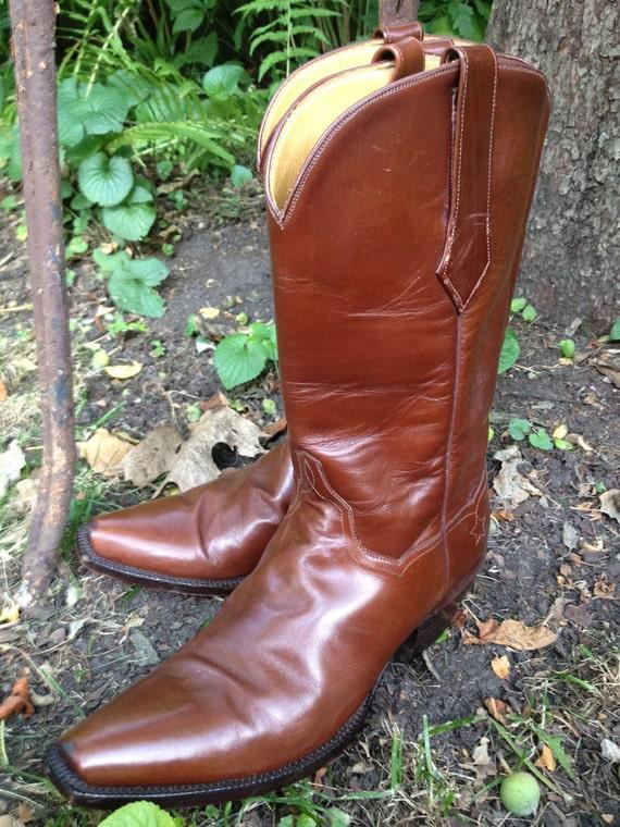 J B Hill Custom Handmade Texas Cognac Brown Leather Cowboy