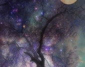 "Surreal Twilight Art Print, Full Moon Purple Sky Enchanted Forest, Colored Stars, ""ENCHANTED FOREST at Twlight"" Art Print"