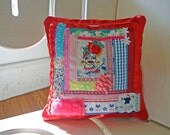 Flower Hat - Hand Embroidered Decorative Pillow - Vintage Fabric - Red - Includes Pillow Insert