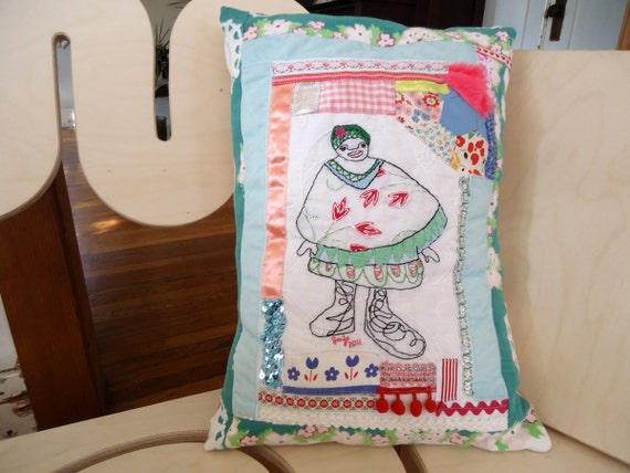 Bloom  - Hand Embroidered Decorative Pillow  - Vintage Fabric - Includes Pillow Insert
