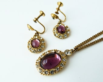 Vintage Purple Glass and White Rhinestone Necklace and Earring Set