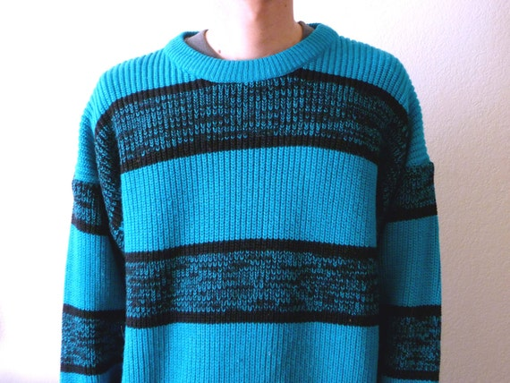 The Perfect Uber  Soft Turquoise Striped Knit Sweater