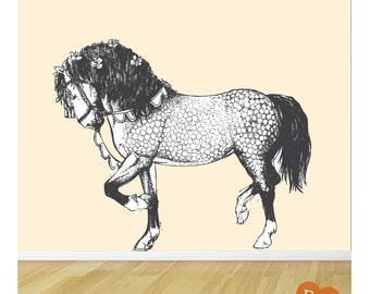 Horse Wall Art, Carousel Horse Fabric Wall Decal, Horse Wall Sticker, Wall Art
