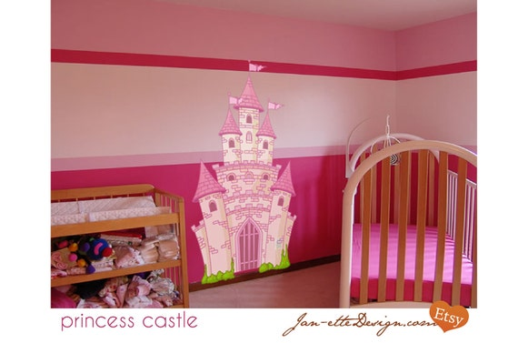 Large Pink Princess Castle Fabric Wall Decal, Removable and Repositionable Fairytale Theme Wall Decor
