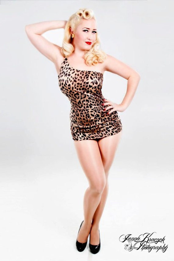 1950s Style Swimsuits, Bathing Suits, Swimwear Leopard Print One Shoulder Swimsuit $99.00 AT vintagedancer.com