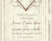Printable Wedding Invitation - 5x7 - Branch Heart - Tree Wood Love Rustic Nature Woodland Twigs Vintage DIY - Brown Tan Sepia Ivory Cream