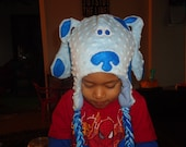 Blues Clues inspired dog beanie with earflaps ...Also available in Pink