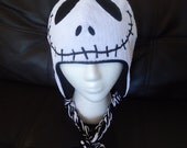 Custom Made- Black and White Skeleton inspired beanie like Jack on The Nightmare Before Christmas with earflaps
